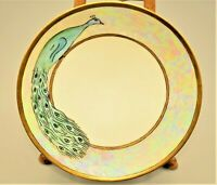 Antique Thomas Sevres Bavaria Signed Opalescent Oyster Shell Decor Peacock Plate