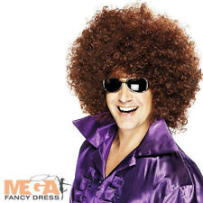 1970s Huge Brown Afro Wig Adults Fancy Dress 70s Mens Ladies Costume Accessory