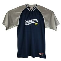 Mens L Chase Authentics Jimmie Johnson Track Shirt Jersey NASCAR Navy Blue #48
