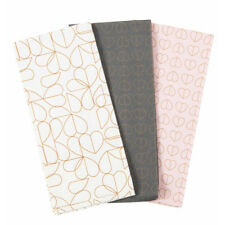 Beau and Elliot Set of 3 Tea Towels Grey White Pink Gold Hearts Modern Pattern