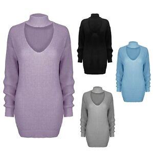 Ladies Women's Knitted Long Sleeve Choker Neck Jumper Top Sweater Multi SM-XL