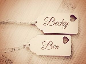 1 X PERSONALISED  NAME WOODEN  GIFT TAG WEDDING TAG