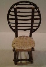 """Rustic 16"""" tall doll or bear fanback wood & twig chair with wicker style seat"""