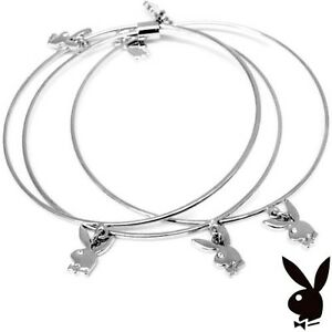 Playboy Bangle Bracelet Silver Plated Swarovski Crystal Bunny Charm Play Boy y2k