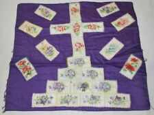 New listing Antique Tobacco Silks Pillow Cover Cigarette Silks Flowers and their Names Cross