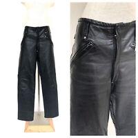 Vintage VTG 1970s 70s Custom Made Black Leather Zip Open Moto Pants