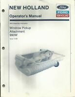 Original New Holland Model 990W Windrow Pickup Attachment Operator's Manual OEM