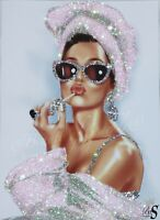 "Girls Night In"" Audrey Hepburn Glitter Art. Any sizes Canvas!"