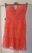 Rare London CORAL Bustier Drop Waist Crochet Dress LARGE BNWT FREEPOST