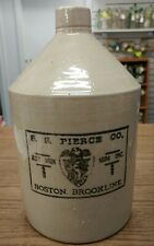 ANTIQUE 19TH CENTURY ADVERTISING STONEWARE JUG S.S. PIERCE BOSTON BROOKLINE