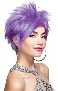 80s Rocker Colored Vivid Adult Wig Lavender Blue White Hot Pink Hair