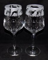 """New Etched """"WHIPPET"""" Wine Glass(es) - Free Gift Box - Large 390mls Wine Glass"""
