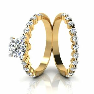 Solid 14KT Yellow Gold Round Cut 1.00 Ct Solitaire Engagement Ring with Band