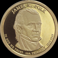 "2009 S James Polk Presidential Dollar Gem Deep Cameo ""PROOF"" US Mint Coin"