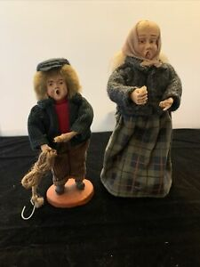 Vintage Hand Modeled Clay Head Dolls Holiday Carolers Boy And Old Woman