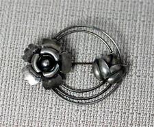 "Vintage Sterling Silver Flower and Leaf Brooch Pin 2.5"" – 8304"