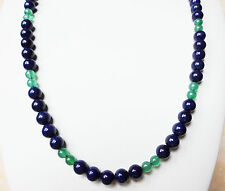 Edelsteinkette Natur Lapis-Lazuli Halskette 8mm Perlen 67 cm Collier True Gems