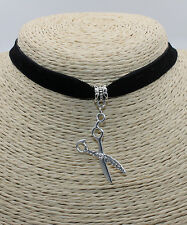 Scissors Tool Hyperbolic Crystal Pendant Cocktail Choker Collar Bib Necklace #01
