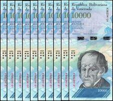 VENEZUELA BOLIVARES10 X 10000 (10,000) P-NEW UNC LOT 10 PCS Total
