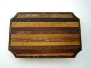 Vintage BTS Mens Belt Buckle ~ Brass & Wood