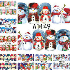 12 Patterns/Sheet Christmas Nail Art Water Transfer Decal Xmas Snowman Deer Tips