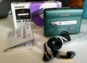 Extremely Rare Green Aiwa PX257 Walkman Super Bass Portable Cassette Player Boxd