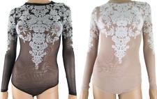 Black nude tan  Mesh Lace Floral Leotard Thong Bodysuit Lingerie