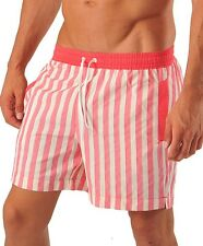 GERONIMO Mens Swimming Shorts Red Stripes Shorts Active Sports Beach Striped