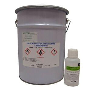 """Colle polyester armée de fibre""""choucroute"""" 5 kg + 125 ml catalayseur PMEC"""