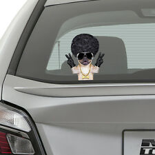 Pug Dog Peeking on Board Kids Boys Bedroom Decal Wall Car Art Sticker Gift