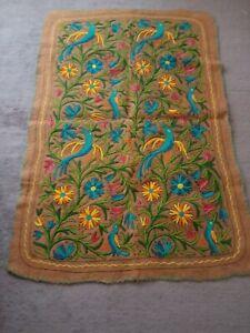 kashmir felt wool WOOLEN area rug namda namdha hand embriodered brown birds  4x6