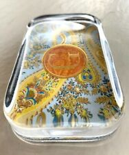 """Punch Studio Heavy Crystal Paperweight, Gold Foil, Monogram """"G"""" Embossed"""