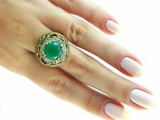925 Sterling Silver Jewelry Turkish Ottoman  Authentic Emerald Ring Size 8 R2323