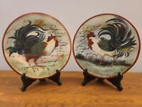 """Set of 2 Certified International Le Rooster by Susan Winget 8 3/4"""" Salad Plates"""