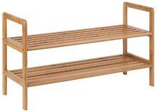 Shoe Rack Organizer Wood Storage 2 Shelf Bamboo 8 Pairs Closet Accessory Holder