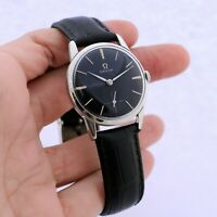 AUTHENTIC 1960' OMEGA ST STEEL MANUAL WIND BLACK DIAL VINTAGE SWISS GENTS WATCH
