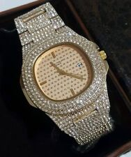 MEN'S OVAL BEZEL SOLID EXTRA LARGE GOLD PLATED ICED OUT HIP HOP BLING WATCHES
