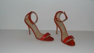$765 MANOLO BLAHNIK CHAOS 105 LEATHER AND SUEDE RED STRAPY SANDALS HEELS SIZE 39