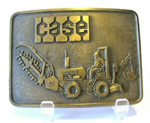Vintage Case DH4 Trencher Tractor Backhoe Digger Brass Belt Buckle Construction