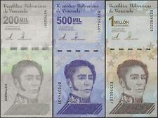Venezuela P Neu 3 Note Set B382-84 200k,500k,1 Million Bolivares 2021 (IN 2020