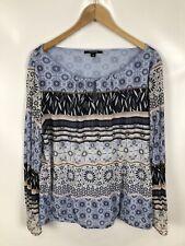 COMMA, Shirt/Bluse, Größe 46, blau gemustert