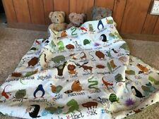 Handmade animal quilt,baby,read the names quilt,cotton,silky green