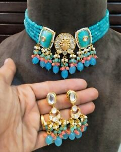 Indian Bollywood Kundan Blue Choker Necklace Earrings Fashion Party Jewelry Sets
