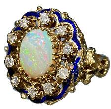 14K Yellow Gold Opal Diamond Halo Enamel Scrolls Fleur-De-Lis Cocktail Ring