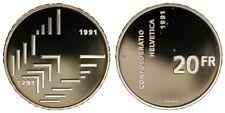 Svizzera Switzerland Suisse 20 Franchi Francs 1991 (700 th) Proof §820