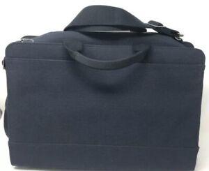 Jack Spade Navy Blue Brief Case Interior Pockets Shoulder Strap Handles