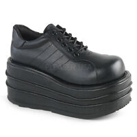 "Demonia 3.5"" Mega Stacked Platform Black Vegan Sneaker Shoes Goth Club Mens 4-13"