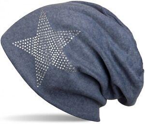 klassische warme Beanie Mütze mit Strass Stern, Strasssteine, Glitzerstern, Star