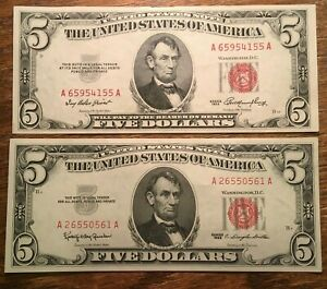 1953 & 1963 HIGH GRADE CHCU $5 UNITED STATES NOTES (Fr.#1532 & Fr.#1536)