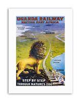 RAIL AFRICA LION TRAIN KILIMANJARO VINTAGE POSTER ART PRINT 12x16 inch 1059PY